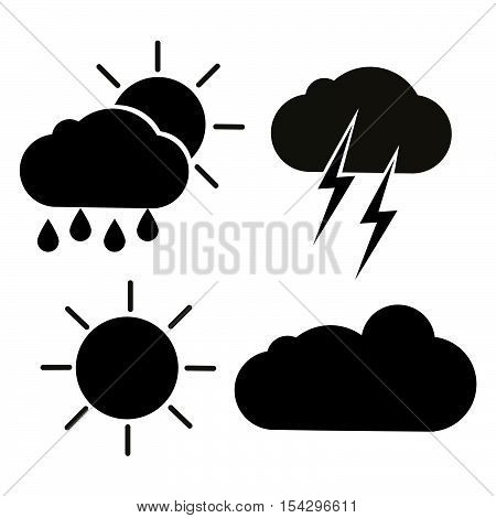Set of vector weather icons, isolated black silhouettes of clouds, sun, rain and thunder.