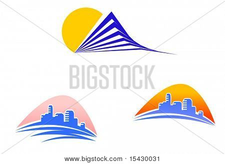 Vector version. Symbols of modern and ancient buildings for design. Jpeg version also available