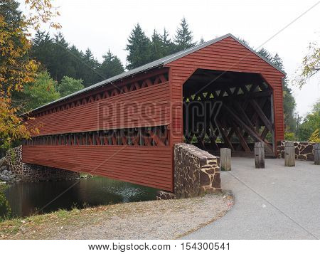 Sach's Covered Bridge in Adams County Pennsylvania was built in 1854 and was crossed by the Union and Confederate Armies during the Gettysburg battle.