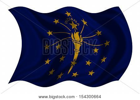 Flag of the US state of Indiana. American patriotic element. USA banner. United States of America symbol. Indianian official flag with real detailed fabric texture wavy isolated on white illustration