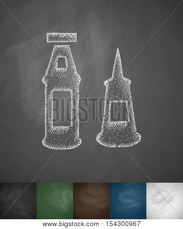 mayonnaise and ketchup icon. Hand drawn vector illustration. Chalkboard Design