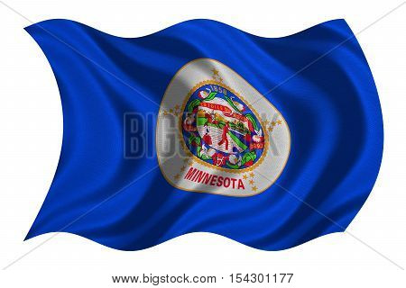 Flag of the US state of Minnesota. American patriotic element. USA banner. United States of America symbol. Minnesotan official flag real detailed fabric texture wavy isolated on white illustration