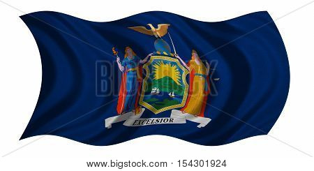 Flag of the US state of New York. American patriotic element. USA banner. United States of America symbol. New Yorker official flag real detailed fabric texture wavy isolated on white illustration