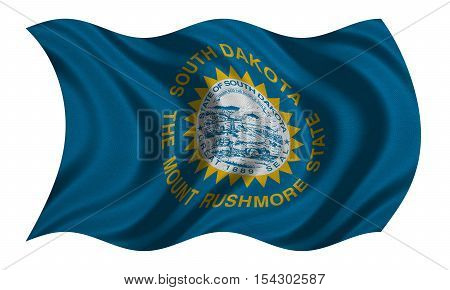 Flag of the US state of South Dakota. American patriotic element. USA banner. United States of America symbol. South Dakotan official flag detailed fabric texture wavy isolated on white illustration