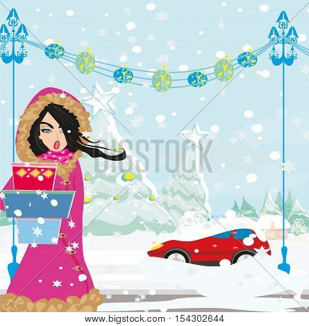 Sad girl and car Stuck In The Snow on winter landscape , vector illustration