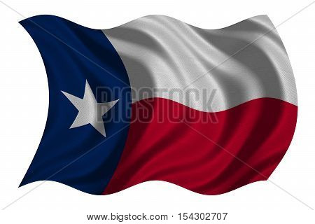 Flag of the US state of Texas. American patriotic element. USA banner. United States of America symbol. Texan official flag with real detailed fabric texture wavy isolated on white illustration