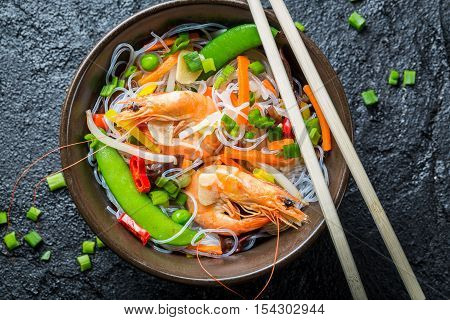Chinese mix vegetables with shrimp on black rock