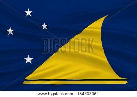 Flag of Tokelau (New Zealand) - Polynesia. 3d illustration