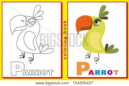 Coloring Book for Kids with letters and words. Litter P. Parrot. vector image