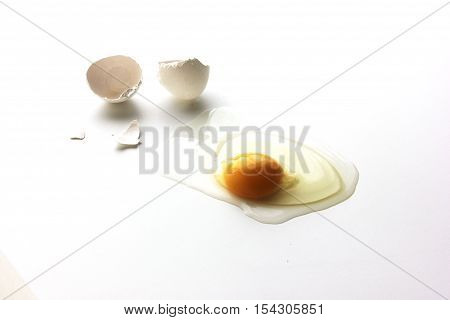 broken egg on white background with shell