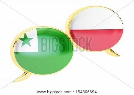 Speech bubbles Polish-Esperanto translation concept. 3D rendering
