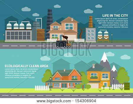 Flat banners with industrial buildings in city and ecologically clean area isolated vector illustration