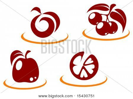 Vector version. Fresh fruit symbols for design or concept. Jpeg version also available