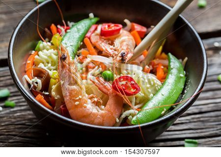 Closeup Of Chinese Noodles, Vegetables And Prawns