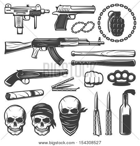Set with various isolated gangster symbols with weapons guns bats knives knuckleduster and gang skulls flat vector illustration