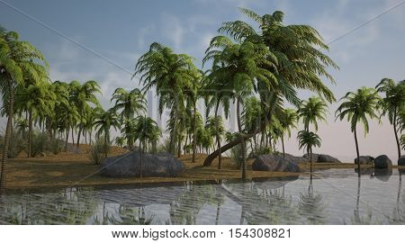 3d illustration of the palm island grove