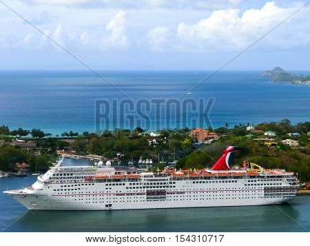Saint Lucia Saint Lucia - May 12 2016: The Carnival Cruise Ship Fascination at dock. She is one of 8 sister ships and received a million dollar refurbishment in 2006