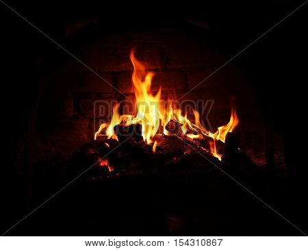 burning fire in the fireplace burning, dark, darkness, dust,
