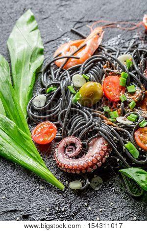 Spaghetti Made From Black Pasta And Prawn