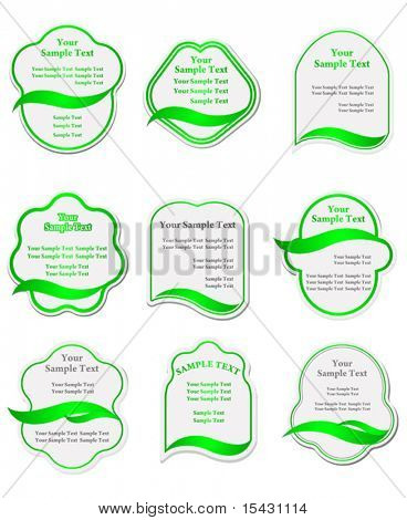 Vector version. Set of green labels for design food and beverages. Jpeg version is also available
