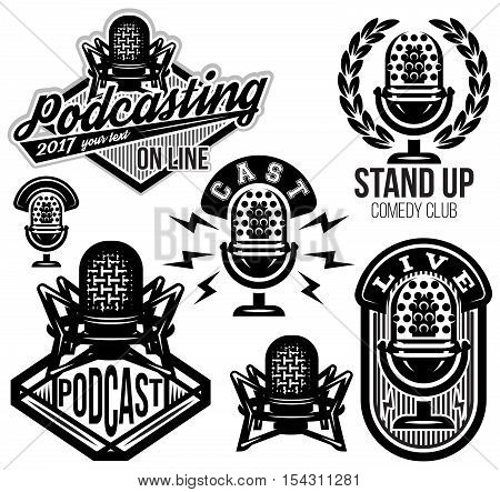 set of vector stylish retro patterns with microphones radio podcast show