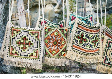 Colorful traditional bags in Ananuri castle . Georgia, Europe.