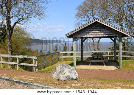 Picnic Table With View On The Fundy Trail Parkway