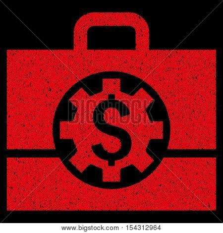 Bank Career Options grainy textured icon for overlay watermark stamps. Flat symbol with dirty texture. Dotted vector red ink rubber seal stamp with grunge design on a black background.