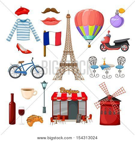 Paris isolated icon set on paris theme with well known signs and elements of france vector illustration