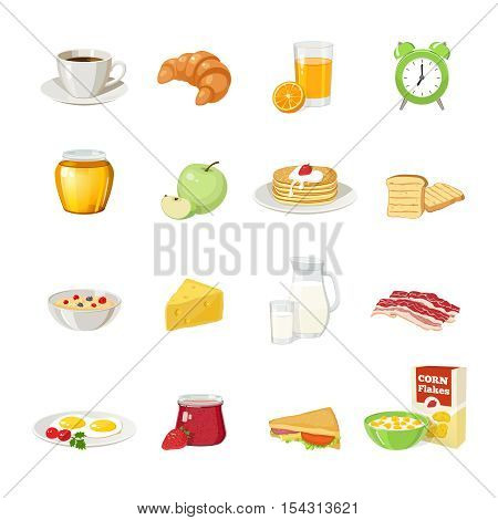 Sixteen isolated breakfast food symbols set with different dishes drinks food bread coffee and alarm clock vector illustration