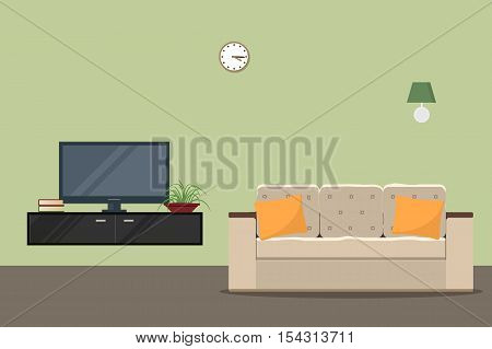 Living room in a green color with a sofa and a home cinema. There are two yellow pillows on a sofa. Vector flat illustration.