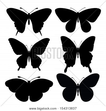 set of black silhouettes of butterflies, isolated on white background.