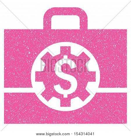 Bank Career Options grainy textured icon for overlay watermark stamps. Flat symbol with dust texture. Dotted vector pink ink rubber seal stamp with grunge design on a white background.