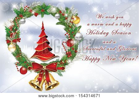 Business Christmas and New Year greeting card with Christmas tree, wreath, jingle bells. Print colors used. Custom size of a greeting card