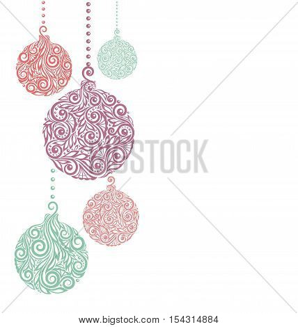 Christmas background with Christmas balls Hanging . Great for greeting card and invitation of the merry christmas and happy new year