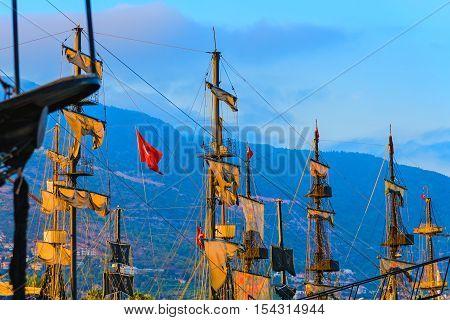 Sails And Masts Of Huge Sailing Boat