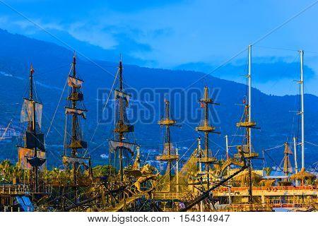 Masts And Sails Of Huge Sailing Boat