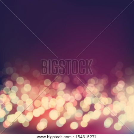 Vector bokeh background. Festive defocused colorful lights. Abstract blurred vintage style illustration.