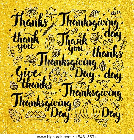 Thanksgiving Day Gold Lettering Design. Vector Illustration of Hand Drawn Thank You Calligraphy.