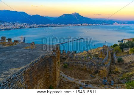 Aerial View On Alanya City And Sea