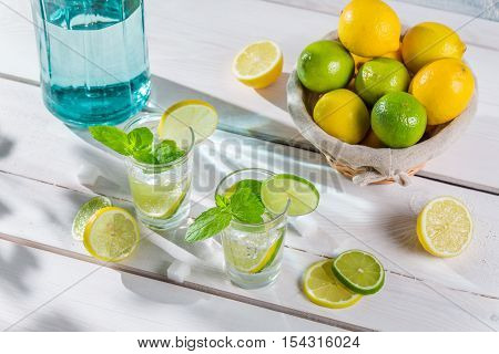Cold Drink Made Of Citrus Fruit With Sugar
