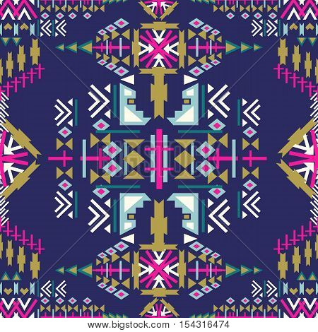 Colorful Navajo seamless pattern. aztec abstract geometric print. ethnic hipster backdrop. Aztec stile tribal art.Used for  web page background fabric paper .