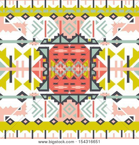 Colorful aztec seamless pattern. Ethnic abstract geometric texture. Hand drawn navajo fabric. Used forweb page background fabric paper .