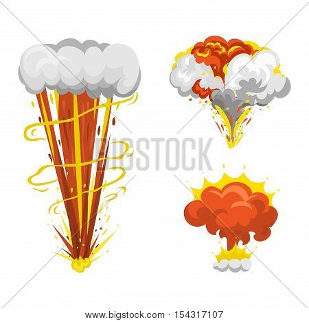 bomb explosion effect vector. Boom fire and strong explosion boom.