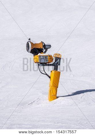 Snow making machine called also snow cannon or snow gun in Austrian Alps near Solden