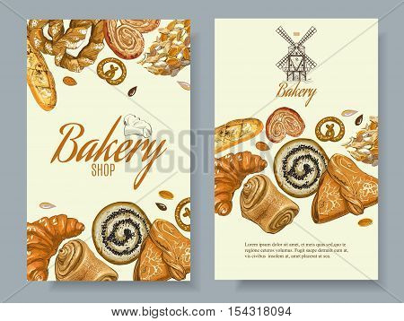Vector bakery vertical banners. Design for grocery ,bakery, dessert menu, pastry shop, recipe book, cooking manual . With place for text