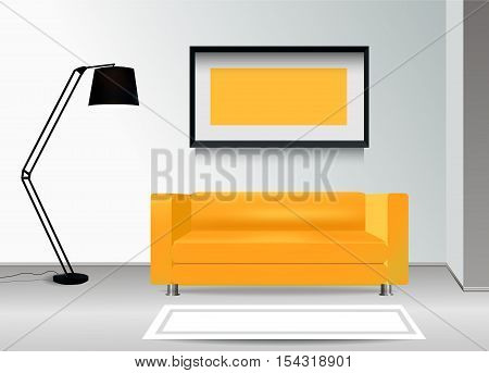 Realistic yellow sofa with floor lamp carpet and photoframe on the wall. Interior illustration.Furniture Design Concept.