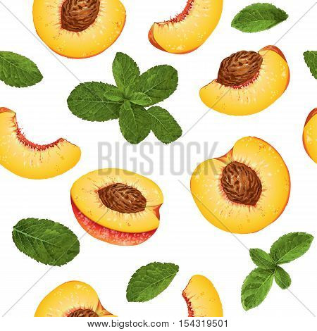 Vector peach and mint seamless pattern. Background design for tea ice cream natural cosmetics candy and bakery with peach filling health care products. Best for textile wrapping paper.