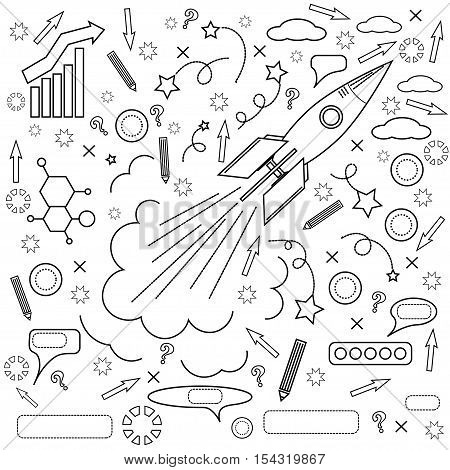 Rocket Icon Isolated on White Background. Concept of Success, Start Up, Initiatives, Team Work. Lines Design