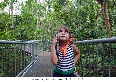 Child Listen To Information Daintree National Park Queensland  Australia